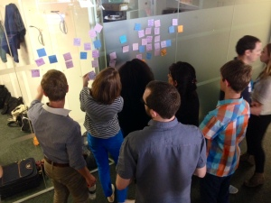 Post it sorting at Mozilla with UNICEF UK volunteers